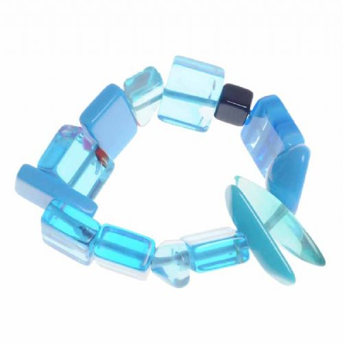 Jackie Brazil Indiana Multi Bead Resin Bracelet in Blue